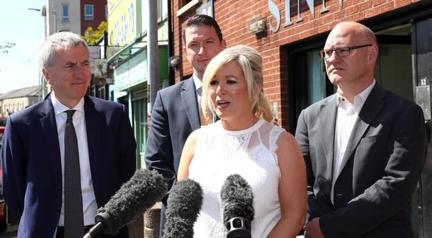 Sinn Fein Leader Michelle O'Neill speaks to the media on the tenth anniversary of the power-sharing institutions at the party offices on the Fall Road Belfast. 8th may 2017 Photograph By Declan Roughan/Press Eye