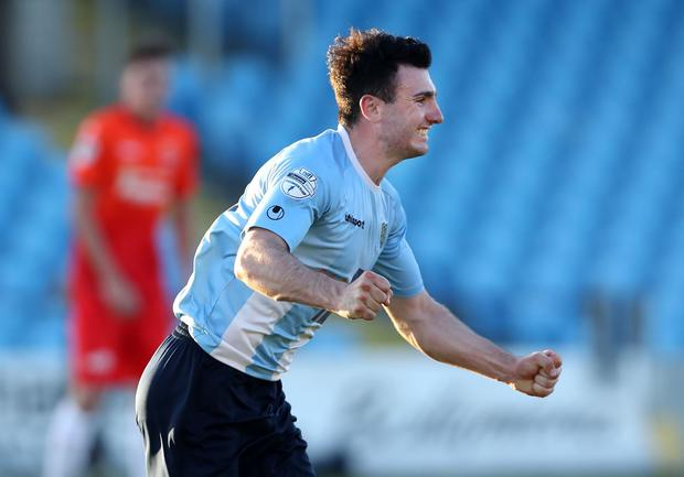 Ballymena's Joseph McKinney celebrates scoring against Dungannon during Monday nights Europa League play-off semi-final at the Showgrounds, Ballymena. Photo by William Cherry