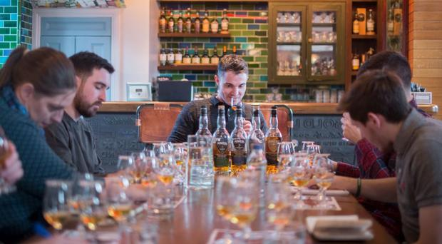The bartenders from Bullitt Belfast take part in a tasting at the Irish Whiskey Academy