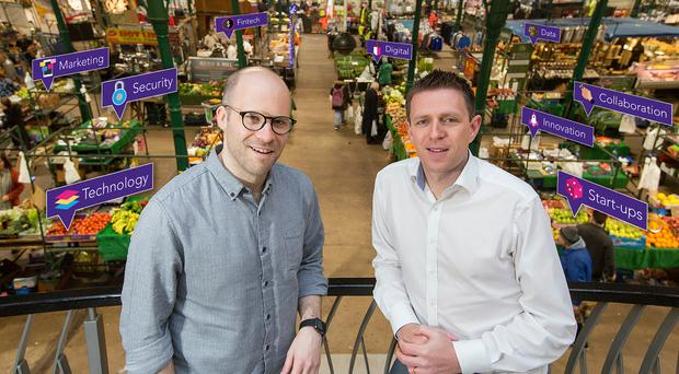 Mike Robinson (left), the CTO at Deloitte Digital, and Digital DNA founder Gareth Quinn at St George's Market