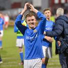 Winning smile: Glenavon goalscorer James Singleton hails his team's victory at Solitude last night