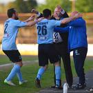 Sky Blue heaven: Ballymena United's Joe McKinney celebrates with his manager, David Jeffrey