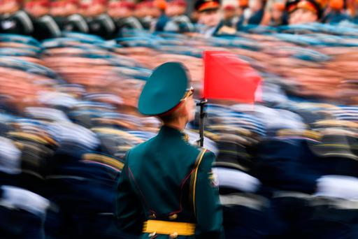 Russian servicemen march at Red Square during the Victory Day military parade in Moscow on May 9, 2017. AFP/Getty Images