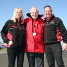 Vauxhall International North West 200 Event Director Mervyn Whyte, MBE, flanked by Event Co-ordinator Gillian Lloyd and Operations Manager, Fergus McKay.
