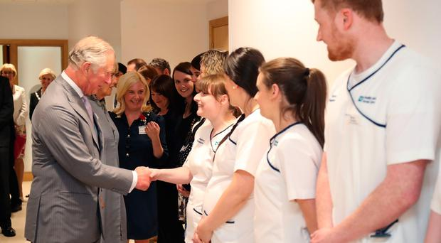 The royal couple meet staff at the Cancer Centre at Altnagelvin Hospital
