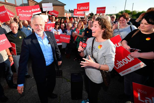 Labour Party leader Jeremy Corbyn is interviewed as supporters gather around him on May 10, 2017 in Rotherham, England. (Photo by Anthony Devlin/Getty Images)