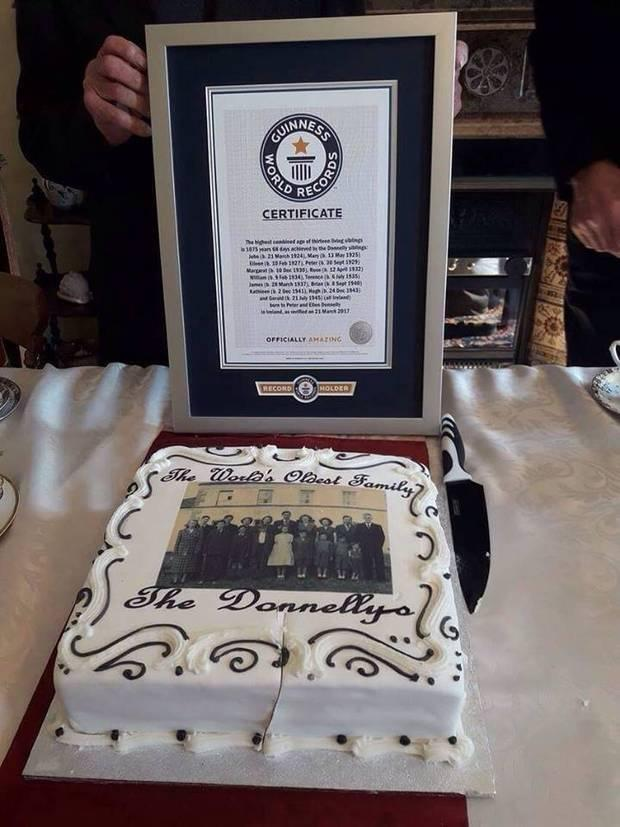 The Guinness World Record awarded to the Donnelly family from Co Armagh