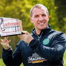 Leading man: Celtic boss Brendan Rodgers after winning his fourth Manager of the Month award this season