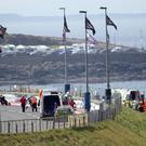 PACEMAKER BELFAST 11/05/2017 The scene at Primrose corner on the 2017 Vauxhall International North West 200 circuit where John McGuinness crashed his Honda Racing Fireblade sustaining a suspected fracture to his leg. Photo Stephen Davison/Pacemaker Press