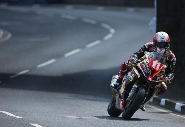 Michael Rutter Bathams/ SMT Racing BMW speeds through Dhu Varren during Thursday's Superstock practice for the Vauxhall International 2017 North West 200 around the Triangle Course. Picture by Brian Little/PressEye