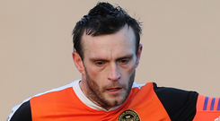 On the line: Glenn Taggart admits there's a lot at stake Press Eye Northern Ireland 21st January 2017 Danske Bank Irish Premiership Carrick Rangers v Dungannon Swifts at Taylors Avenue Carrickfergus Mandatory credit - Pic by John McIlwaine Press Eye Carrick Rangers Glenn Taggart in action against Dungannon Swifts Peter McMahon