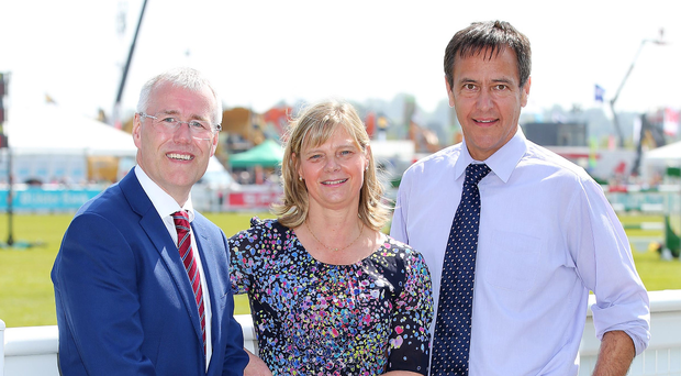 Moy Park chief executive Janet McCollum with Richard Donnan (left) and Cormac McKervey of Ulster Bank. Photo: Kelvin Boyes/Presseye