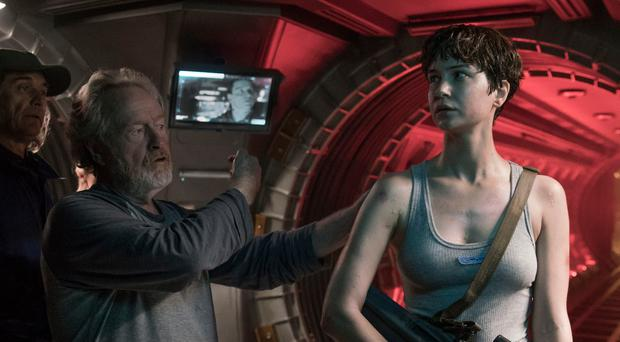 Katherine Waterston with Ridley Scott on the set of Alien Covenant. Photo: PA Photo/Fox UK