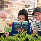 Keith Acheson, festival director, Deepa Mann-Kler, chair of the Crescent Arts Centre, and Damian Smyth, head of literature and drama at the Arts Council of Northern Ireland, at the launch of the Belfast Book Festival programme yesterday