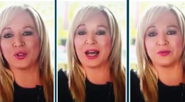 Sinn Fein's Stormont leader Michelle O'Neill employs a different tone in the party's broadcast for the upcoming General Election