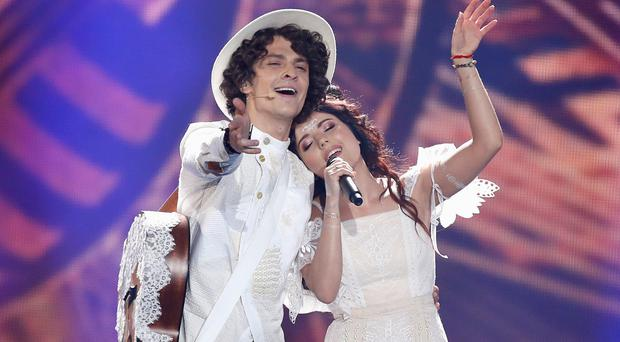 Naviband representing Belarus perform the song 'Story of My Life' during the second semi final of the 62nd Eurovision Song Contest (Michael Campanella/Getty Images)