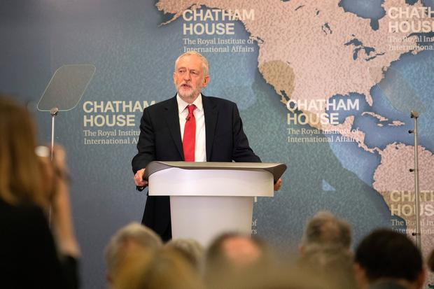 Labour leader Jeremy Corbyn outlines his party's defence and foreign policies at Chatham House on May 12, 2017 in London, England. Mr Corbyn announced a robust and independent foreign policy and no hand holding with U.S President Donald Trump. (Photo by Carl Court/Getty Images)