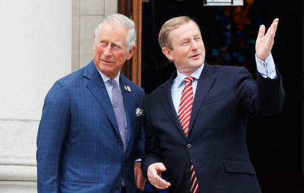 The Prince of Wales (left) is greeted by Taoiseach Enda Kenny as he arrives at Government Buildings, Dublin in the Republic of Ireland. PRESS ASSOCIATION Photo. Picture date: Friday May 12, 2017. The Prince of Wales and the Duchess of Cornwall are on a three day visit to Ireland. See PA story ROYAL Ireland. Photo credit should read: Lorraine O'Sullivan/PA Wire