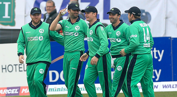 Out: (from left) Ireland quartet Tim Murtagh, William Porterfield, Stuart Thompson and Gary Wilson celebrate a Bangladesh wicket at Malahide yesterday before the game was rained off