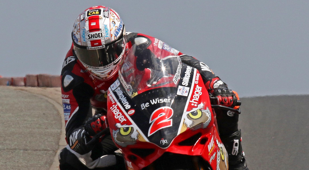 Big contender: Glenn Irwin going through Blackhill during practice for the NW200 Superbike races