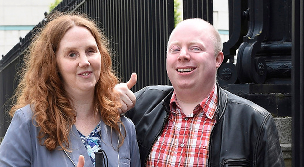 Joanna Toner and husband Barry outside the High Court yesterday