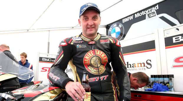 Pit stop: Michael Rutter at the Vauxhall International North West 200 yesterday