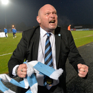 Ballymena manager David Jeffrey celebrates