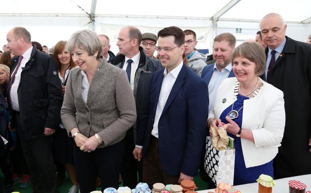 Prime Minister Theresa May is on a brief visit to Northern Ireland