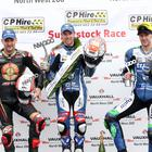 Alastair Seeley after his third victory in the Superstock race at the Vauxhall International North West 200. Ian Hutchinson 2nd and Michael Rutter 3rd - Photo Stephen Davison/Pacemaker Press
