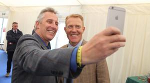 Ian Paisely grabs a celebrity selfie with Adam Henson at Balmoral Show.