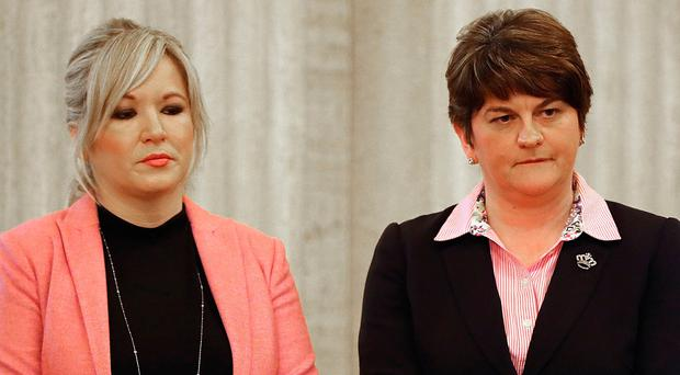 Party leaders Michelle O'Neill and Arlene Foster
