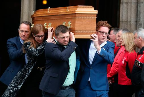 The coffin of Brendan Duddy leaves St Eugene's Cathedral in Londonderry after the funeral service, he worked as a secret link between the IRA and British government for more than 20 years. PRESS ASSOCIATION Photo. Picture date: Monday May 15, 2017. See PA story ULSTER Duddy. Photo credit should read: Niall Carson/PA Wire