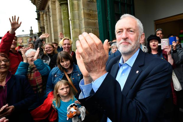 Leader of the Labour Party Jeremy Corbyn is greeted by hundreds of supporters at an election rally on May 15, 2017 in Hebden Bridge, England. Britain will vote in a general election on June 8. (Photo by Leon Neal/Getty Images)
