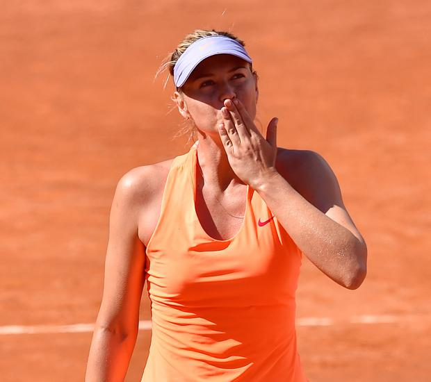 Maria Sharapova of Russia celebrates the victory after the match between Maria Sharapova of Russia and Christina Mchale of USA during The Internazionali BNL d'Italia 2017 - Day Two at Foro Italico on May 15, 2017 in Rome, Italy. (Photo by Giuseppe Bellini/Getty Images)