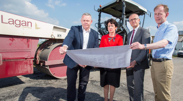 From left, Brian Mcmanus, Lagan Group project director, Rose Hynes and Niall Maloney of Shannon Group and John O'Leary, engineering and capital projects manager, Lagan Group