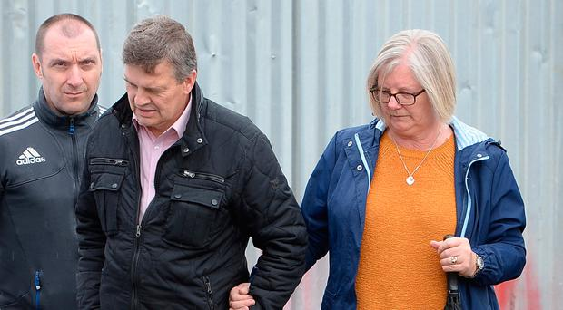 Tony and Linda Jones at the scene of the search at garages in Goddard Road for the body of their daughter Danielle Jones who went missing in 2001. Photo: John Stillwell/PA Wire