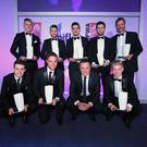 NIFL Team Of The Season: NIFL Managing Director Andy Johnston with Roy Carroll of Linfield, Lyndon Kane of Coleraine, Howard Beverland of Crusaders, Jimmy Callacher of Linfield, Cliftonville's Levi Ives, Linfield midfield trio Jamie Mulgrew, Stephen Lowry and Paul Smyth and Paul Heatley of Crusaders. The two strikers for the team of the year are Andrew Waterworth of Linfield and from Dungannon Swifts and soon to be Glenavon goal machine Andrew Mitchell. Belfast - Northern Ireland - 15th May 2017 - Photo by Kelvin Boyes / Press Eye.