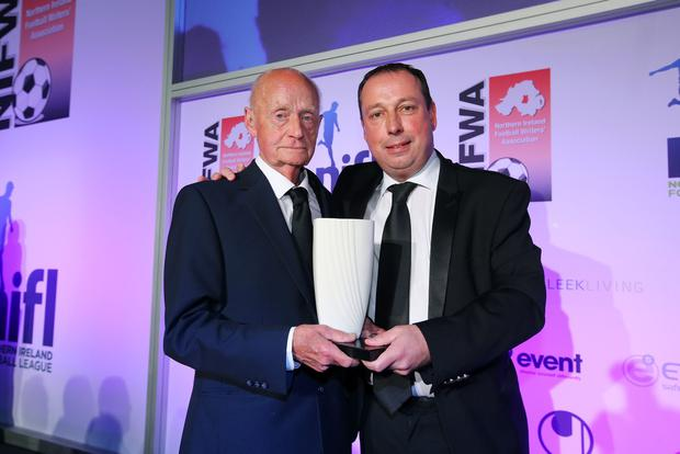 NIFWA Merit Award: Chairman of Treble-winning Linfield, Mr Roy McGivern with Andy Kerr from Linfield - Belfast - Northern Ireland - 15th May 2017 - Photo by Kelvin Boyes / Press Eye.
