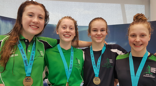 Golden girls: Ards relay winners Mia Davison, Scarlett Armstrong, Madelyn Calvert and Ellie McKibben