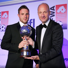 Write stuff: NIFWA Chairman Stephen Watson with Player of the Year Jamie Mulgrew from Linfield