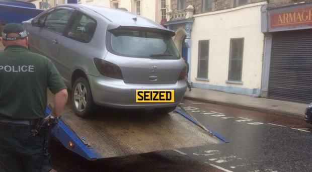 The car that was seized in Armagh on Monday (Photo: PSNI)