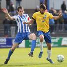 Coleraine's David Ogilby and Ballymena's Jonathan McMurray