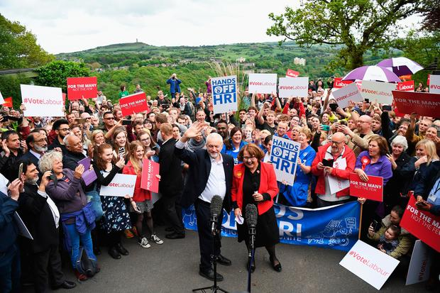 Leader of the Labour Party Jeremy Corbyn attends a campaign rally in Beaumont Park after launching the Labour Party Election Manifesto on May 16, 2017 in Huddersfield, England. Britain will vote in a general election on June 8. (Photo by Leon Neal/Getty Images)