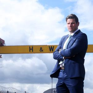 Landmark: Adam Keefe is unveiled as Giants coach yesterday