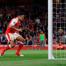 First up: Alexis Sanchez scores the opener for Arsenal against Sunderland at the Emirates last night