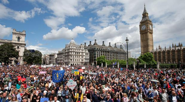 Remain supporters demonstrate in Parliament Square, London, after the referendum