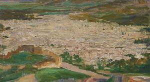 A View Of Fez, a lost oil painting by Belfast-born Sir John Lavery
