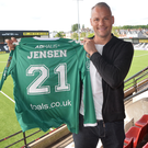 Brian Jensen has signed for Crusaders as regular goalkeeper Sean O'Neill faces a spell on the sidelines.