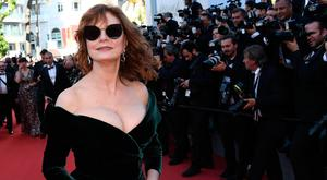 US actress Susan Sarandon poses as she arrives on the red carpeyt. (Getty Images)