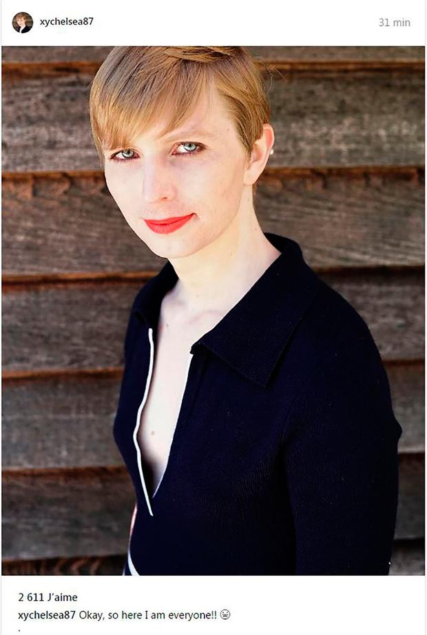 This Instagram account screen capture shows a portrait of transgender former soldier Chelsea Manning she posted on May 18, 2017 one day after being released from a top-security US military prison. AFP/Getty Images